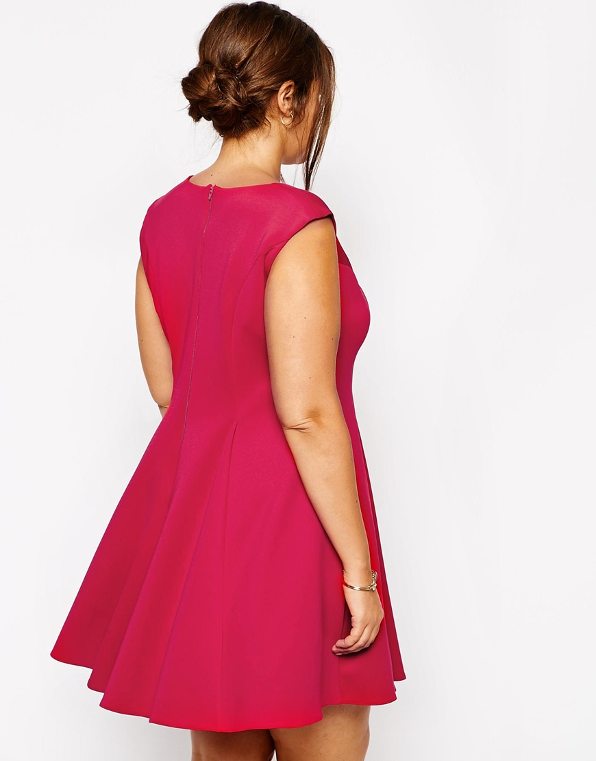 ASOS CURVE Skater Dress In Scuba at asos.com