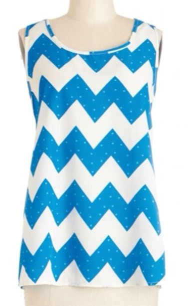 tank top blue and white zig zag print