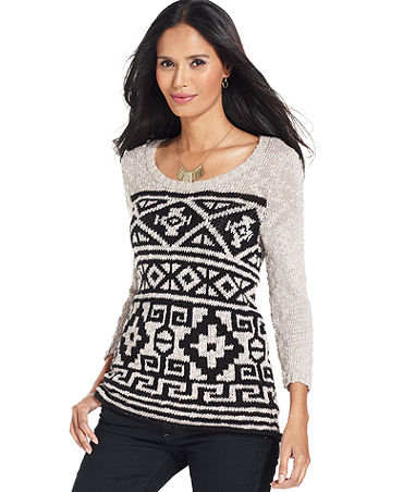 Style&co. Sweater, Three-Quarter-Sleeve Tribal-Pattern - Womens Sweaters - Macy's