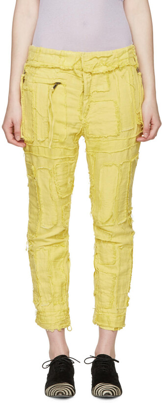 patchwork yellow pants