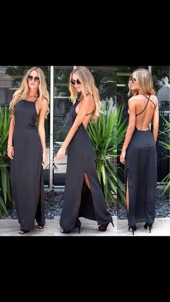 dress long black dress backless