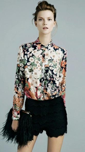 floral japanese fashion black shorts black bag