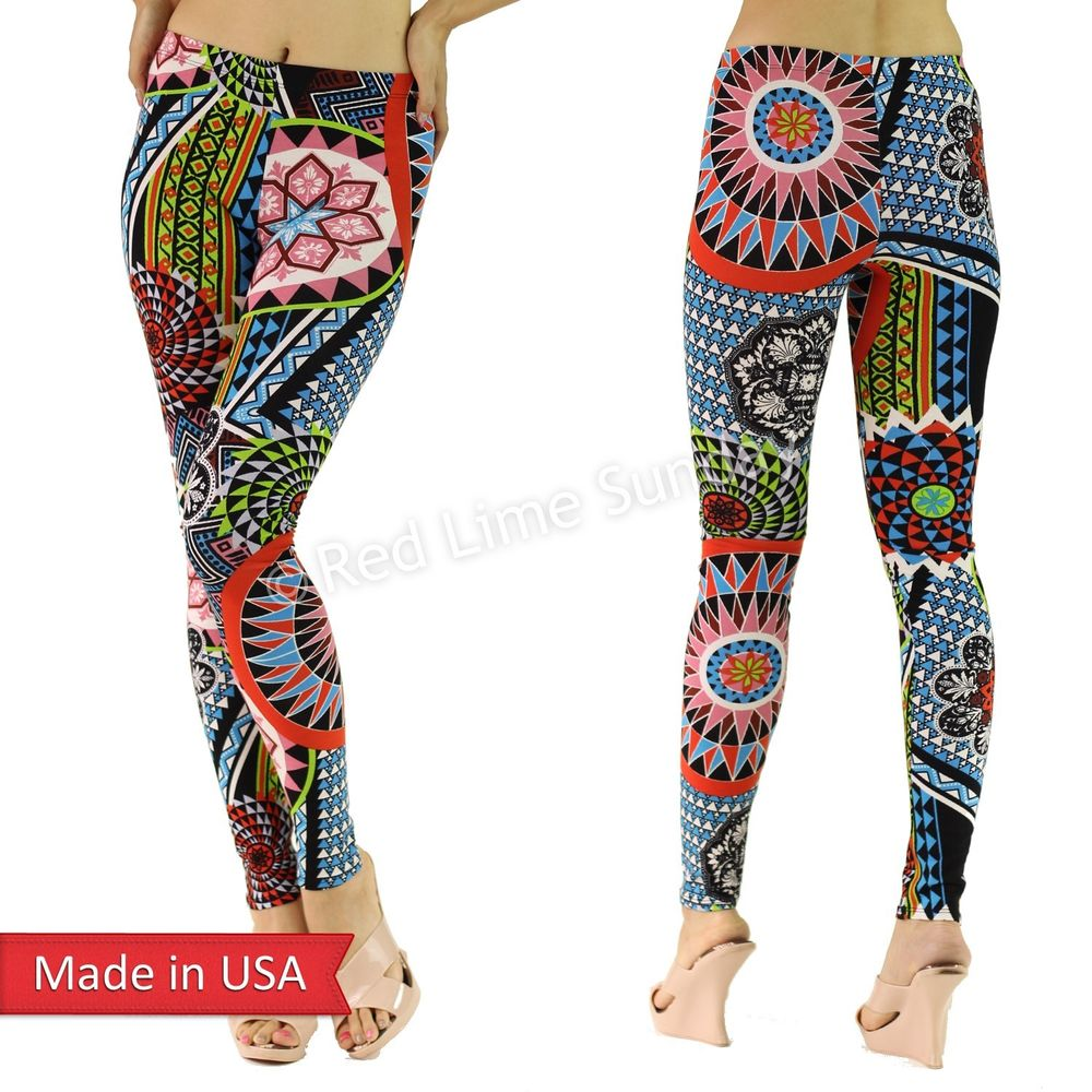 Women Pop Geometric Floral Flower Print Color Cotton Leggings Tights Pants USA