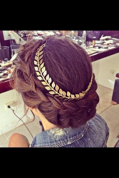 leaf hair accessories crown headband gold headband fashion