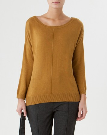 Pull ocre coupe ample Charmante