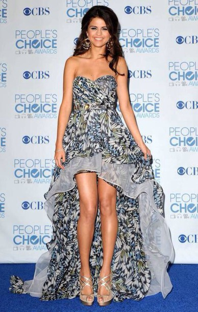 dress selena gomez flowers