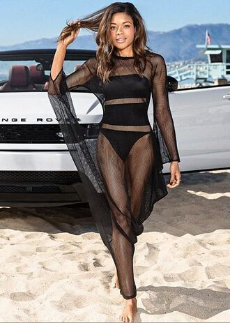 swimwear cover up summer beach strapless one piece swimsuit naomie harris