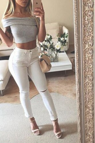 jeans zaful instagram streetwear grey off the shoulder high waisted jeans ripped jeans style lookbook classy sexy top stylish tumblr shirt shoulder shirt crop tops purse handbag shoulder bag
