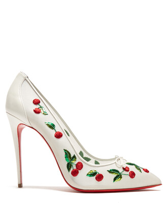 cherry embellished pumps white shoes