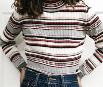 sweater turtleneck striped top red stripes turtleneck sweater