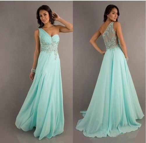 Mint chiffon long evening dresses formal ball prom gown