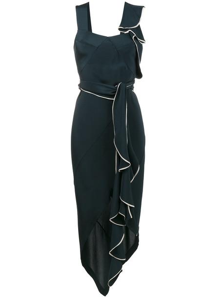 KITX dress women draped blue silk