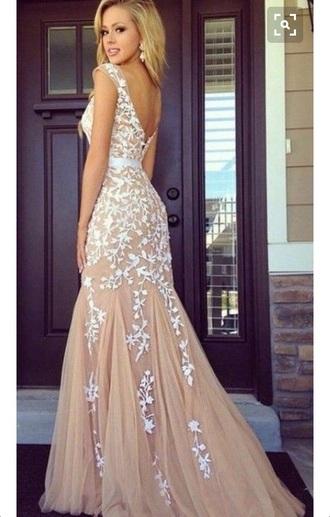 dress prom tan white lace elegant beautiful prom dress long prom dress