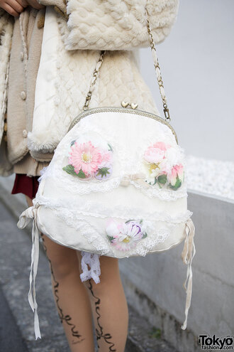 bag purse cult party kei kawaii lolita pink white lace floral doll kawaii bag jacket