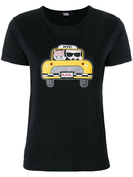 karl lagerfeld t-shirt shirt t-shirt women cotton black top