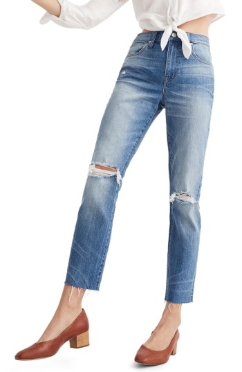 Madewell Ripped High Waist Slim Boyfriend Jeans (Burt) | Nordstrom