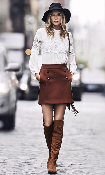 8ec7602f0 skirt, express, blouse, suede, boots, suede boots, karlie kloss ...