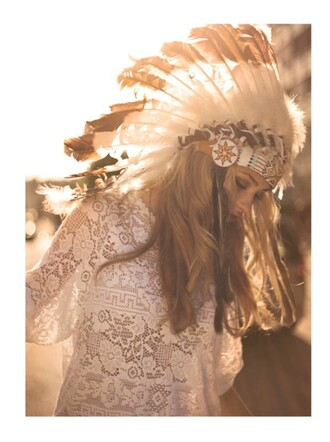 hat summer girl indian cute feathers dress lace top hair accessory native american indians hair bow hair band