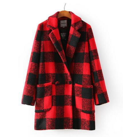 2014 New Spring/Winter Trench red plaid Coat Women Medium Long big Plus Size Warm Wool Jacket European Fashion Overcoat 6 217-in Wool & Blends from Apparel & Accessories on Aliexpress.com | Alibaba Group
