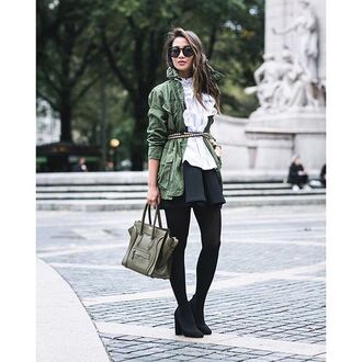 jacket tumblr blouse white blouse ruffle ruffled top army green jacket parka bag green bag mini skirt black skirt opaque tights tights pumps pointed toe pumps high heel pumps black shoes sunglasses