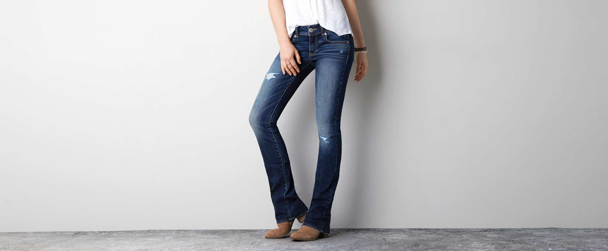 Kick Boot Jean, Dark Destroy | American Eagle Outfitters