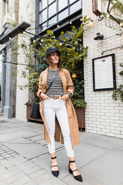 coat hat tumblr camel camel coat top stripes striped top fisherman cap denim jeans white jeans shoes black shoes