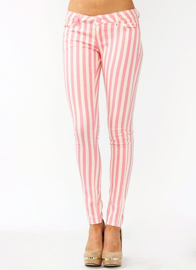 Striped skinny jeans $35.40 in bluecream pinkcream