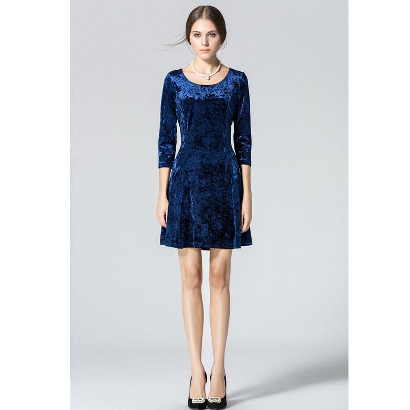 Wine Redding Dresses Winter Velvet Mini Dress Women Blue Fashion ...
