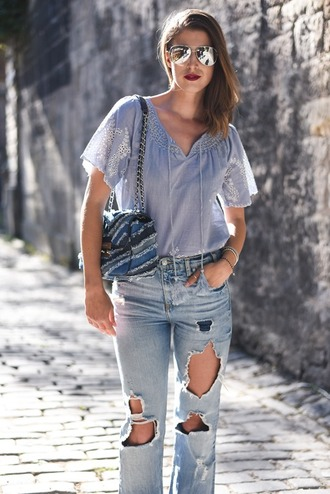 thank fifi blogger shoes bag coat blue top blue bag ripped jeans high waisted jeans aviator sunglasses