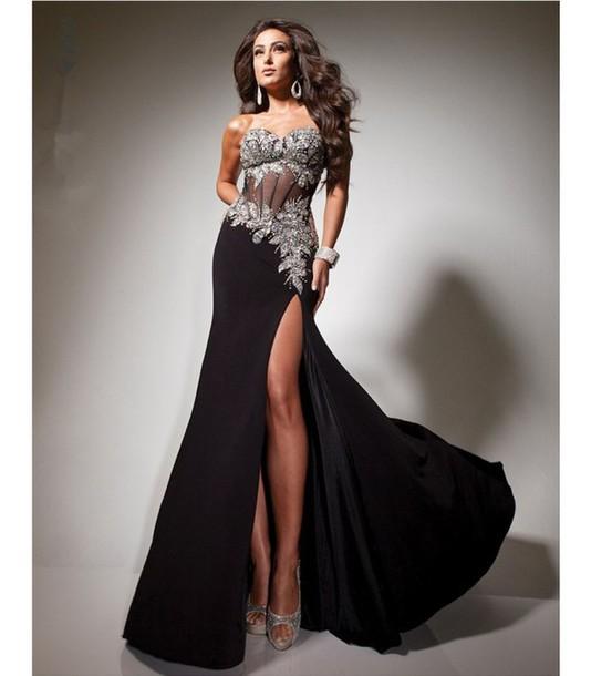 Dress: schwarzes abendkleid, a-linie abendkleid, bodenlanges ...