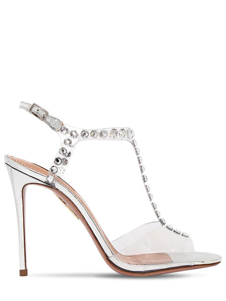 AQUAZZURA 105mm Shine Plexi & Crystals Sandals in silver