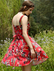 dress,red,girly,summer,style,cute,pattern,dressfo,printed dress,summer dress,skater dress,bow dress,spring