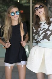 shorts,cara delevingne,lace,white,tumblr,model,sunglasses
