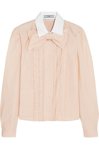 shirt bow embellished cotton peach top