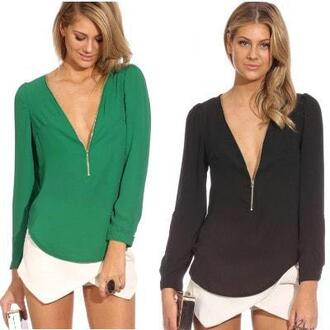 top t-shirt black black v neck crop top green v neck v-neck tunic zip up top zipper tunic zipper v-neck bikiniluxe