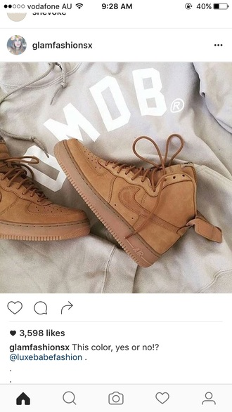 shoes nike tan nike sneakers nike high top sneakers nike air force 1