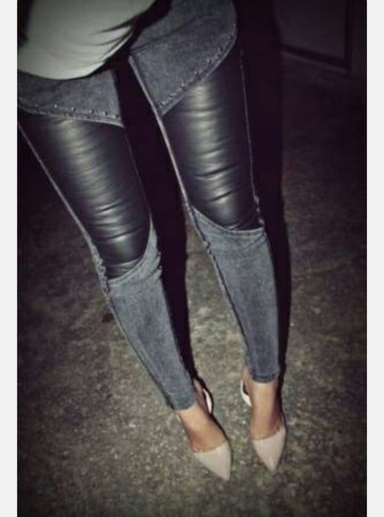 denim leather pants
