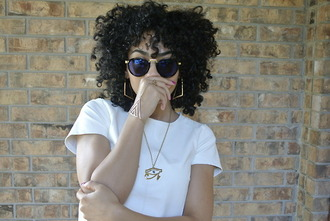 sunglasses kinky hair what else? earrings necklace egyptian style egyptian white t-shirt