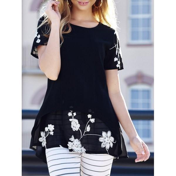 top black cute summer fashion flowers floral girly feminine spring trendsgal.com