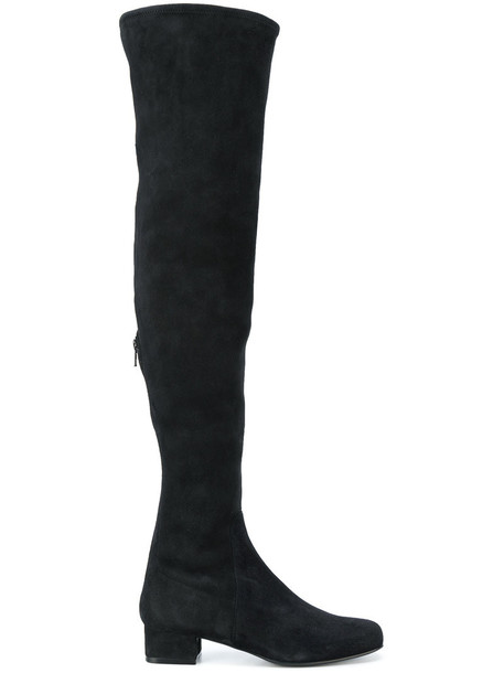 Antonio Barbato women over the knee leather suede black shoes
