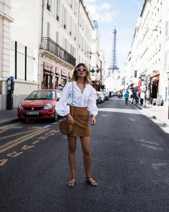skirt tumblr mini skirt suede suede skirt puffed sleeves shirt white shirt sandals flat sandals sunglasses bag