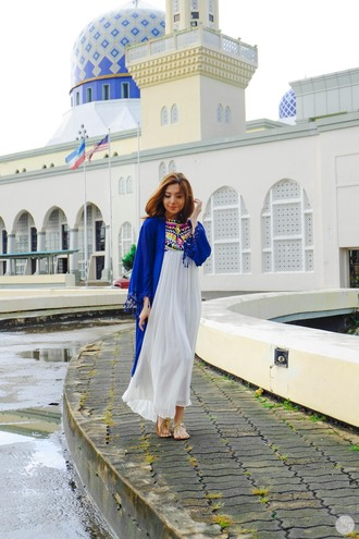 kryzuy blogger maxi dress sandals kimono blue cardigan dress shoes