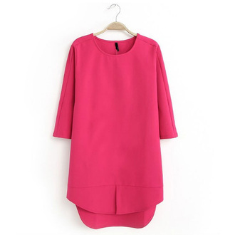 dress pink dress half sleeve dress rose pink trendy style high low dress