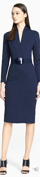navy dress belted dress