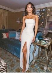 dress,strapless,long dress,slit dress