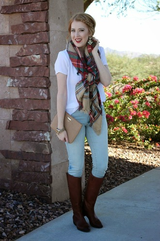 fashion flirtation blogger top scarf bag jewels tartan blanket scarf earrings pouch watch