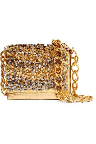 metallic bag shoulder bag floral crocodile gold
