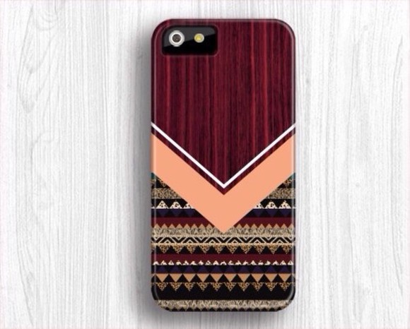 wood jewels case burgundy iphone pink lovefriends tribal pattern
