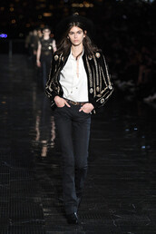 jacket,shirt,runway,kaia gerber,model,saint laurent,pants