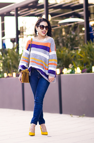 cute & little blogger jeans shoes jewels bag make-up top sweater pumps yellow shoes winter outfits